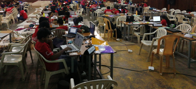 A student hackthon in progress at SIT Tumkur