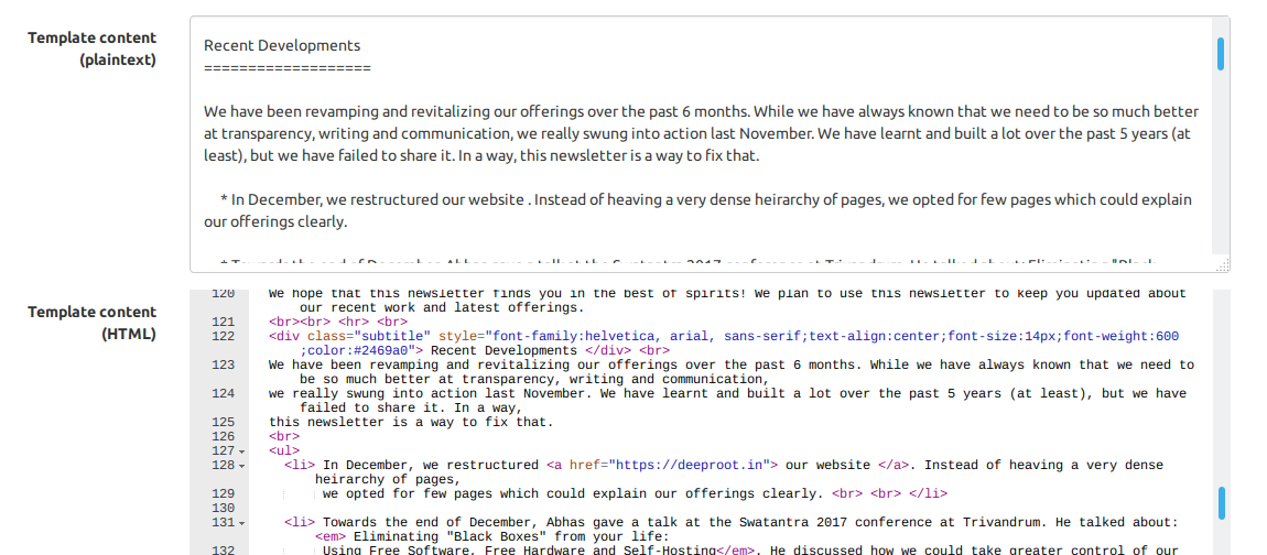 The HTML template (below) with the corresponding text format (above)
